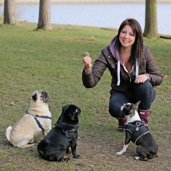 Louise and 3 dogs
